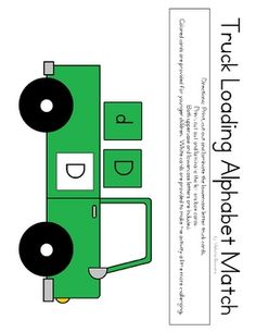 My Truck Loading Alphabet Match Activity FREE on TPT. Print, cut out and laminate the truck cards. Print out and cut out the lettered boxes. Encourage the kids to load the trucks by matching the letters. Both uppercase and lowercase are included. Two sets of boxes are included as well - save ink or make the game more challenging. Beep, beep!