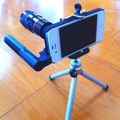 Tricking out my iPhone with 8x optical zoom lens and a directional boom mic :)