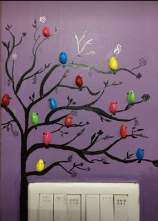 Diy Crafts For Gifts, Diy Home Crafts, Pista Shell Crafts, Tree Wall Painting, Diy Room Decor Videos, Pistachio Shells, Bird Stencil, Bar Design, Quilling Paper Craft