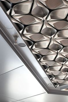 Architectural Metalwork at New Bloomberg HQ London Metal Ceiling, Floor Ceiling, Co Working, Metal Working, Architecture Details, Interior Architecture, Ceiling Detail, Ceiling Texture, Ceiling Installation
