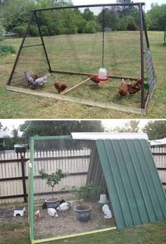 Keeping chicken in the backyard is really fun, as you will always have fresh eggs and cute pets at home. So if you have a little free space, you could consider building a chicken coop, even though you are only having a tiny backyard. We have found a round Chicken Barn, Easy Chicken Coop, Portable Chicken Coop, Chicken Runs, Chicken Ideas, Clean Chicken, A Frame Chicken Coop, Mobile Chicken Coop, Chicken Houses