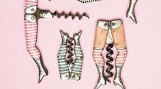 En av de mest åtråvärda korkskruvarna är Ladies legs, som den kallas på den internationella arenan, trots att de flesta är tillverkade i Solingen, Tyskland. Här är fem varianter av de randiga kvinnobenen, varav en är märkt G. Felix, Solingen. Se upp för nytillverkade Ladies legs som förekommer på marknaden!  Foto: Eva Hildén Smith