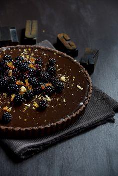 From The Kitchen: Dark Chocolate Tart with Blackberries and Hazelnut Praline