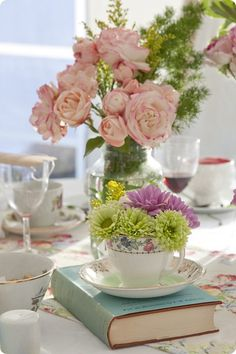 tea party centerpiece inspiration-for-the-vintage-table-co