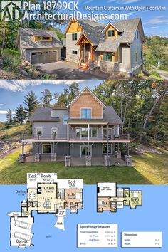 Architectural Designs Mountain Craftsman House Plan 18799CK gives you 3 beds, 3.5 baths and over 2,200 square feet of heated living space. Oh, and did we mention the incredible views out the back?Ready when you are. Where do YOU want to build?