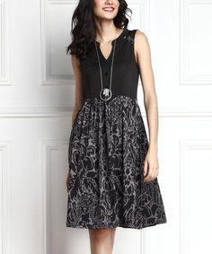 Look what I found on #zulily! Charcoal Floral Button-Front Fit & Flare Dress by Reborn Collection #zulilyfinds