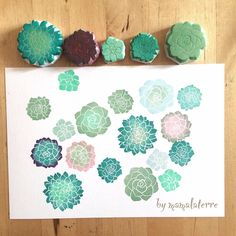 Turn the flower stamps to be succulents Stamp Printing, Printing On Fabric, Eraser Stamp, Stamp Carving, Arts And Crafts, Paper Crafts, Fabric Stamping, Handmade Stamps, Flower Stamp