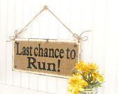 Here Comes Your Bride, Custom name wedding sign, burlap rustic wedding. $36.00, via Etsy.
