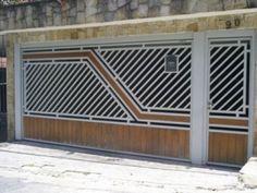 portão de correr em madeira e ferro