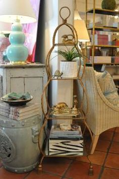 Vintage Tall Gilded Rope Etagere - Mecox Gardens Palm Beach