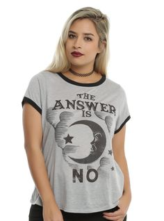 """You've got questions and the spirit world has answers - and this time, the answer is """"NO."""" This lightweight ringer style tee from Ouija, the Mystifying Oracle, features a large moon & text design that reads """"The Answer Is No.""""<br><ul><li style=""""list-style-position: inside !important; list-style-type: disc !important"""">65% polyester; 35% rayon</li><li style=""""list-style-position: inside !important; list-styl..."""