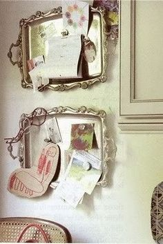 Vintage silver trays make an interesting magnet board.  Pretty way to display photos of you two...
