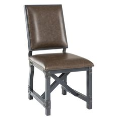 The Lancaster side chair is the perfect update for your dining table, providing comfort and style. Chocolate faux leather is upholstered onto a sturdy metal frame with hand painted graphite metal finished wood legs. The chair features a unique metal back support that flexes, providing the utmost comfort for you or your guest. Assembly required.