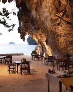 The Grotto, one of the hotel's four restaurants, is right on Phranang Beach. #Jetsetter #JSTakeMeThere