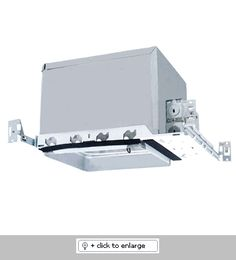 """8"""" Airtight IC Square Housing (with Lensed Trims)    With integral thermal protector  Supplied with captive bar hangers for 24"""" max joist spacing  UL listed for damp locations and feed through"""