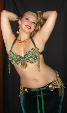 Emerald and gold belly dance bra and belt