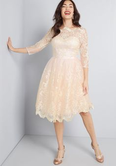 e0c4242b6 Chi Chi London Gilded Grace Lace Dress in Blush | ModCloth Blush Pink  Dresses, Emerald