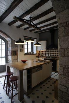 Kitchen, Kitchen Islands, Floor Tiles, Kitchen Islands, Old Stone Houses, Tile Floor, Tiles, Bathroom, Flooring, Furniture, Design, Home Decor