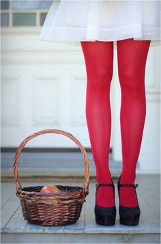white skirt + red tights