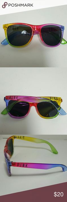 NWOT PINK Sunglasses No scratches.  New.  Rainbow colored PINK Sunglasses.  FUN for brightening up a spring or summer outfit. PINK Victoria's Secret Accessories Glasses