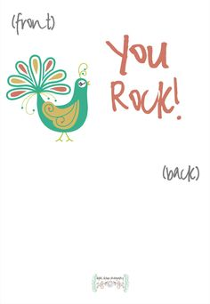 Folded Printed You Rock Cards - Personalized Greeting Cards - Choose your colors - (Set of 5). $7.00, via Etsy.