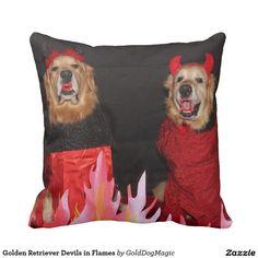 Golden Retriever Devils in Flames Throw Pillow
