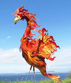 I need this!!!!!! Phoenix Flamingo handmade recycled garden art by CedarMoon, $75.00
