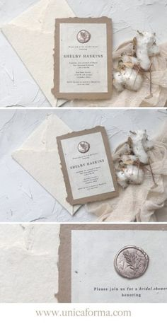 These are for my best friend, Shelby's, bridal shower coming up next month. The old world theme from her save the dates carried on to these. Wedding Season, Our Wedding, Wedding Venues, Bridal Shower Invitations, Wedding Stationery, Wedding Collage, Wedding Invitation Etiquette, Seed Paper, Champagne Color