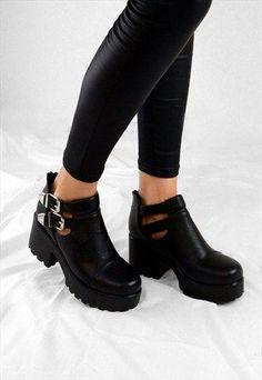 FAITH Chunky Heel Cut Out Grip Platform Buckle Ankle Boots