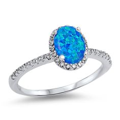 Women's Blue opal stone CZ Sterling silver promise engagement ring size 4-10 #SolitairewithAccents