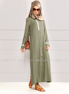 islamische kleidung fuer frauen mymodestystyle.com besuchen sie unsere shop #hijab #abayas #tuekische kleider #abendleider #islamischekleidung  Pearl Buttoned Topcoat - Khaki - Refka - <p>Fabric Info:</p> <p>60% Polyester</p> <p>40% Cotton</p> <br> <p>Unlined</p> <p>Weight: 0.624 kg</p> <p>Measures of 38 size:</p> <p>Height: 143 cm</p> <p>Bust: 94 cm</p> <p>Waist: 100 cm</p> <p>Hips: 102 cm</p> - SKU: 191451. Buy now at http://muslimas-shop.com/pearl-buttoned-topcoat-khaki-refka.html
