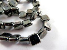 25 Hematite Czech Tile Beads Opaque Black Two Hole Glass Czechmate 6mm - 25 pc. - G6081-HM25 by allearringsandsuppli on Etsy