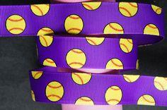 "10Yd Softball Glitter 7/8"" Purple Grosgrain Ribbon"
