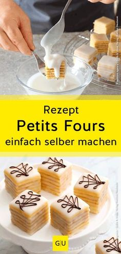 The art of confectionery explained for you-Die Kunst der Konditorei für Sie erklärt Petits fours belong to the high school of pâtisserie. We& show you how to make the little delicacies yourself at home. Mini Desserts, Small Desserts, Winter Desserts, No Bake Desserts, Icing Recipe, Best Chocolate Cake, Chocolate Desserts, Petit Fours Recipe Easy, Gourmet