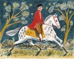 "Night Horseman | Emily Sutton - Exhibition postcard for ""Mark Hearld and Emily Sutton"", York College 2011 People Illustration, Watercolor Illustration, Graphic Illustration, New Art, Sculpture, Naive Art, Equine Art, China Art, Horse Art"