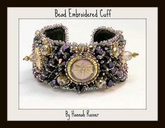 Bead Embroidery Bracelet - Purple Steampunk Dragonfly $285.00 Available on my Etsy shop at http://www.hannahrachel.etsy.com