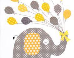 Amarillo y gris amor vivero arte Print / / por 3000yardsofthread