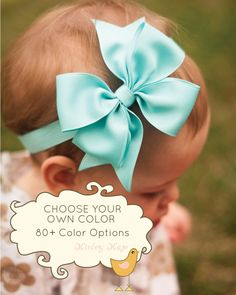 Baby Headband, Set of 6, Single Layer Pinwheel LARGE, Boutique Baby Headband Bow, More than 80 color options, infant headband on Etsy, $44.00