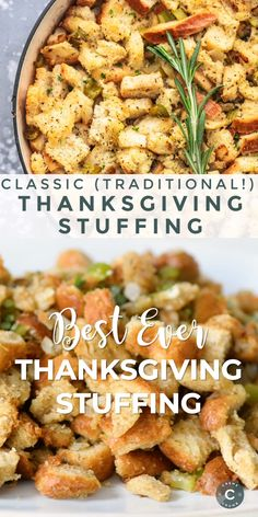 Make this Classic Traditional Homemade Stuffing Recipe when you're looking for the easiest and tastiest Thanksgiving stuffing recipe. Made with sourdough bread, veggies, butter, and Italian seasoning, you'll never make another stuffing again. Homemade Turkey Stuffing, Crockpot Stuffing, Stuffing Recipes For Thanksgiving, Thanksgiving Side Dishes, Stuffing For Chicken, Bread Stuffing For Turkey, Stuffing Seasoning, Christmas Stuffing, Thanksgiving Videos