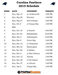 Printable Carolina Panthers Schedule - 2015 Football Season