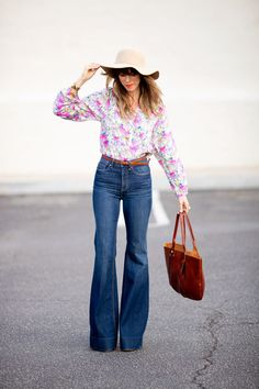 high waisted flares/bell bottoms, floral blouse, hat, belt...