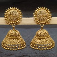 Stunning 925 Sterling Silver Gold Plated Stud Jhumka Earrings