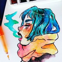 Ok, this is a watercolor sketch i did months ago, i really miss painting with watercolors i wish i had more time to paint again. #drawing #sketchbook #doodle #watercolors