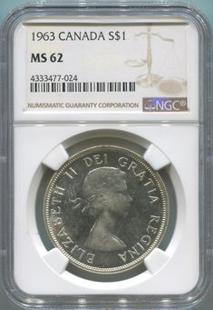 Item specifics     Grade:   MS 62   Certification:   NGC     Circulated/Uncirculated:   Uncirculated   Country/Region of Manufacture:   Canada      1963 Canada Silver Dollar. NGC...