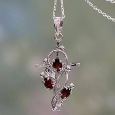 Garnet cross pendant necklace, 'Sacred Trinity' - Garnet and Silver Cross Pendant Necklace from India Sterling Silver Name Necklace, Silver Drop Earrings, Silver Pendant Necklace, Handmade Sterling Silver, Silver Necklaces, Silver Jewelry, Silver Ring, Earrings Uk, Garnet Necklace