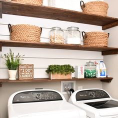 Laundry room shiplap and DIY stained wood shelving. Affordable laundry room organization for your home. White shiplap with stained wood DIY shelving.