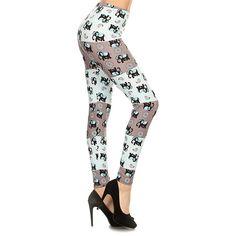 Leggings Depot Teal Elephant Leggings ($7.99) ❤ liked on Polyvore featuring pants, leggings, stretchy leggings, stretch leggings, white leggings, print pants and white legging pants