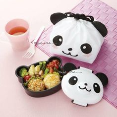 """Lunchtime should be fun time, and J-List knows that our customers love to find """"kawaii"""" new bento boxes on our site. Here's a super cute Panda Lunch Box, incredibly lovely. For sure, you would like to bring this bento box everywhere. All the box is shaped Japanese Bento Lunch Box, Bento Box Lunch, Japanese Food, Lunch Bags, Bento Kawaii, Anime Bento, Bento Recipes, Lunch Box Recipes, Bento Ideas"""