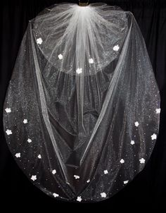 Floor Length (72 inch) Wedding Veil with Blusher, Silk Flower Bridal Veil with Scattered Swarovski Crystals,  via Etsy.