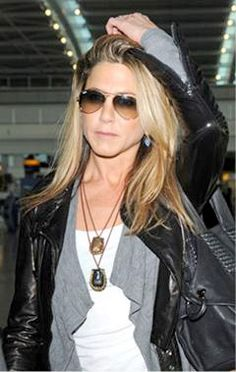 Like the necklaces and the layer of the sweater under the leather jacket.